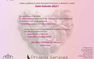 Notre offre pour la Saint Valentin 2013